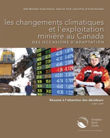 les changements climatiques et l'exploitation minière au Canada