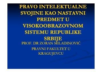 Право интелектуалне својине као наставни предмет у ...