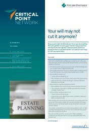 Your will may not cut it anymore? - Pitcher Partners