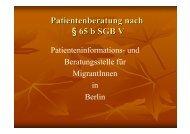 Patientenberatung nach § 65 b SGB V - Berlin Brandenburger Pflegetage