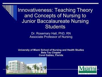 Innovativeness: Teaching Theory and Concepts of Nursing ... - IUPUI