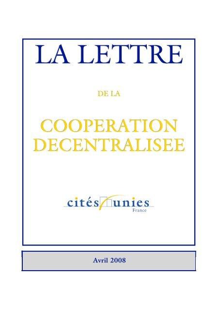 La Lettre d'avril 2008 - Cités Unies France