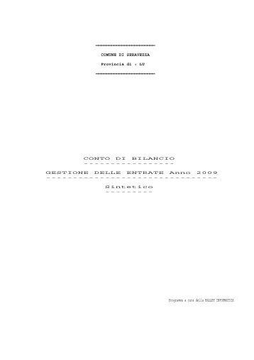 GESTIONE DELLE ENTRATE Anno 2009 - Comune di Seravezza