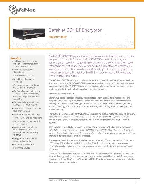 SafeNet SONET Encryptor