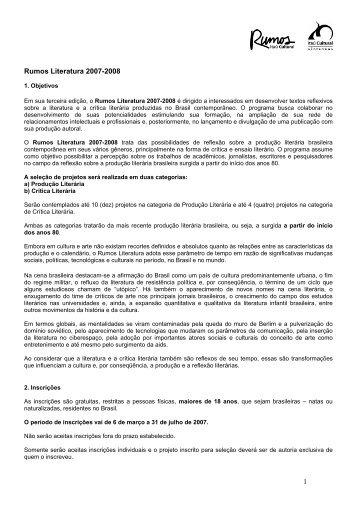 Rumos Literatura 2007-2008 1 - Itaú Cultural