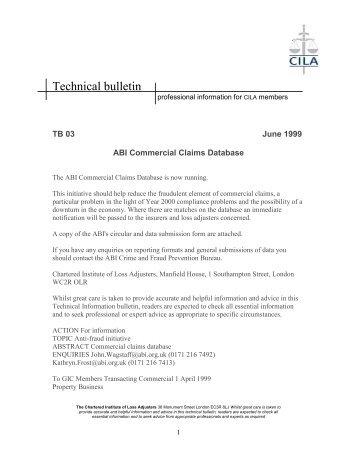 Technical Bulletin 03 - ABI Commercial Claims Database - CILA/The ...