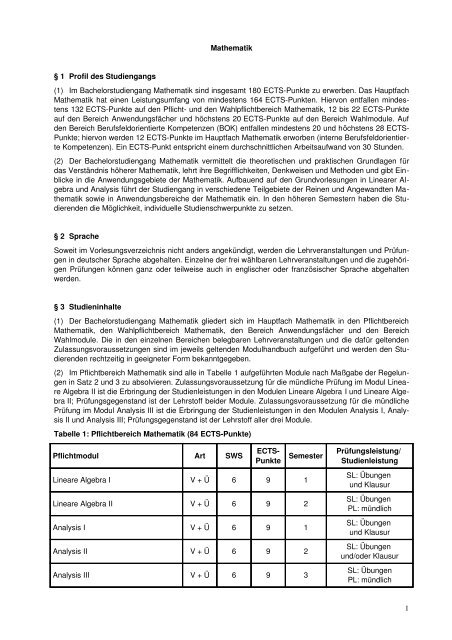 (1) Im Bachelorstudiengang Mathematik sind insgesamt 180 ...