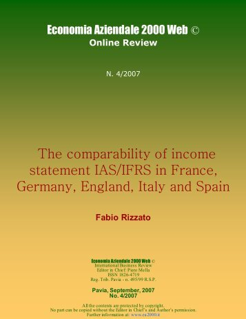 The comparability of income statement IAS/IFRS in France, Germany ...