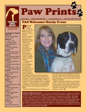 PAS Welcomes Mandy Evans - Panhandle Animal Shelter