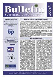 Informační bulletin č. 1 - Vliv změn světa práce na kvalitu života ...