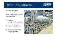 Korrosion i farmaceutiske anlæg - FMV
