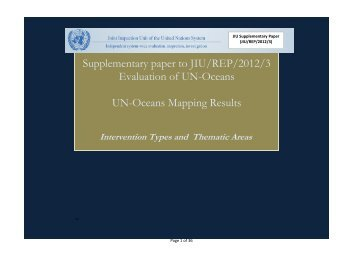 Supplementary paper (Mapping results) to JIU/REP/2012/3
