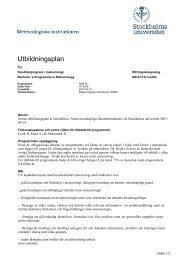 Utbildningsplan för program NMETK - Stockholms universitet