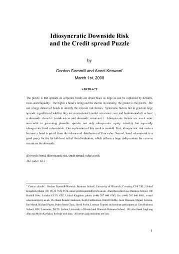 Idiosyncratic downside risk and the credit spread puzzle (Acrobat PDF)