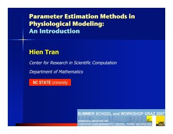 Parameter Estimation Methods in Physiological Modeling: An ...