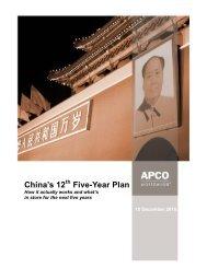 China's 12th Five-Year Plan - APCO Worldwide