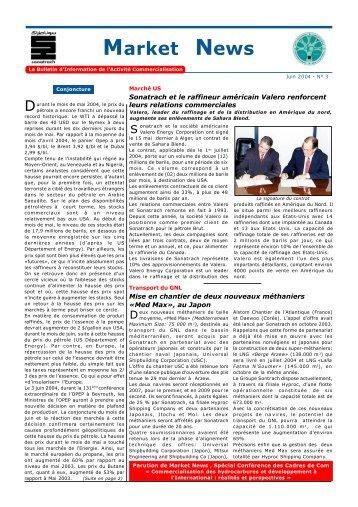 Market News - Ministère de l'énergie et des mines