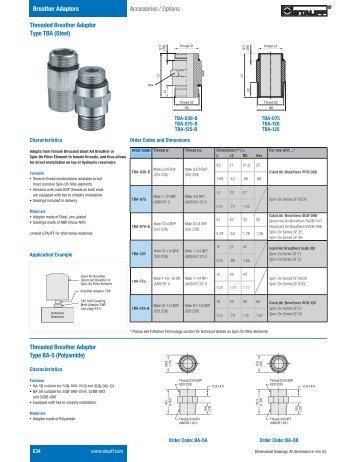 Hydraulic Accessories Section Breather Adaptors - Stauff