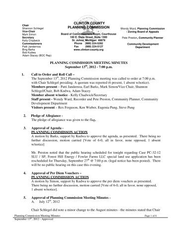 CLINTON COUNTY PLANNING COMMISSION PLANNING ...