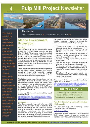 Pulp Mill Project Newsletter 4 - Gunns Ltd | Pulp Mill Project
