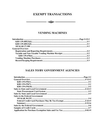 EXEMPT TRANSACTIONS - Kentucky: Revenue Employee Website