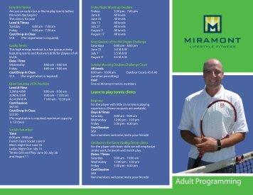 Adult Brochure - Miramont Lifestyle Fitness