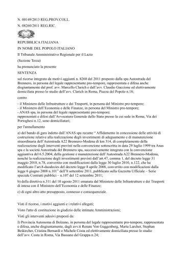 Sentenza Tar del Lazio A22 - L'Adige