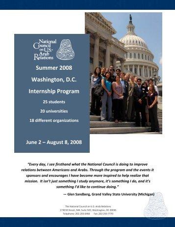 Summer 2008 Washington, D.C. Internship Program Schedule