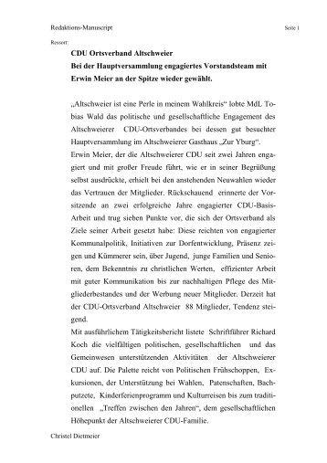 CDU Ortsverband Altschweier Bei der Hauptversammlung ...