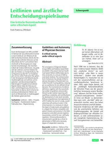 Leitlinien und ärztliche Entscheidungsspielräume - Frank Praetorius