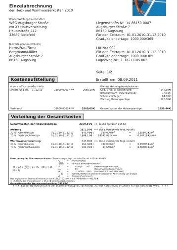 Einzelabrechnung Kostenaufstellung Verteilung der Gesamtkosten