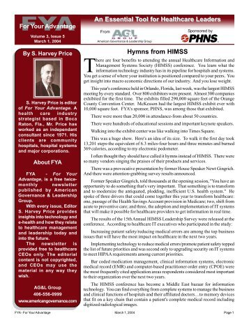 An Essential Tool for Healthcare Leaders Hymns from HIMSS