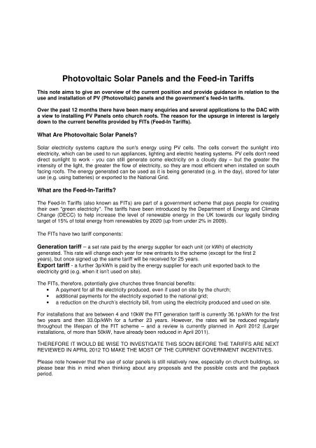 Photovoltaic Solar Panels and the Feed-in Tariffs - Diocese