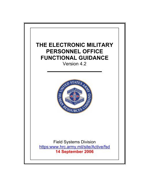 eMILPO Functional Guidance Master Document - Soldier Support