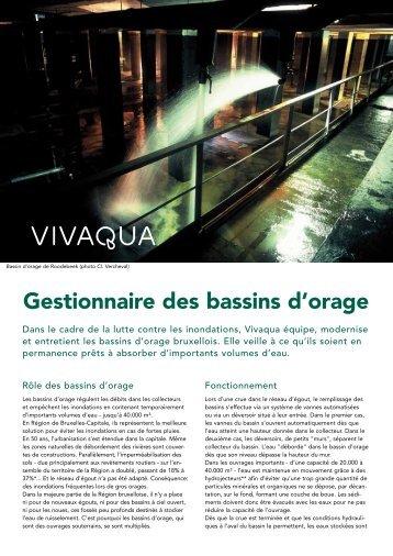 Gestionnaire des bassins d'orage - Vivaqua