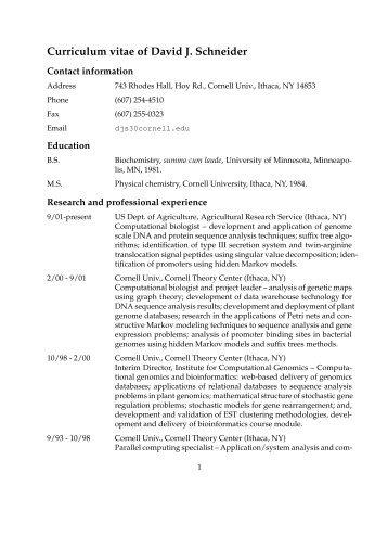 Curriculum vitae of David J. Schneider - Agricultural Research Service