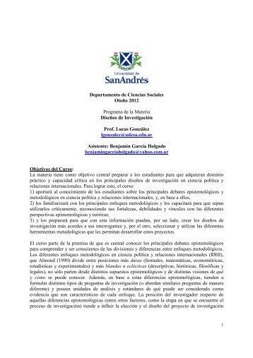 Diseños de Investigación González - UDESA - Sociedad Argentina ...