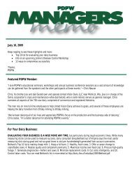 PDPW Managers Memo ~ July 10, 2009 (pdf) - Professional Dairy ...