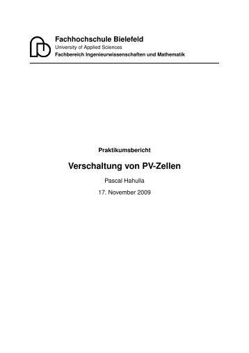 """Praktikumsbericht """"Verschaltung von PV-Zellen"""" - Pascal Hahulla"""