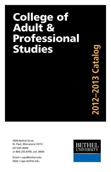 2012-2013 Catalog - College of Adult & Professional Studies