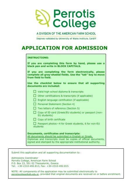APPLICATION FOR ADMISSION - American Farm School