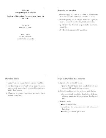 22S:166 Computing in Statistics Review of Bayesian Concepts and ...