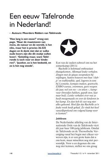 Een eeuw Tafelronde in Nederland! - Theosofische Vereniging in ...