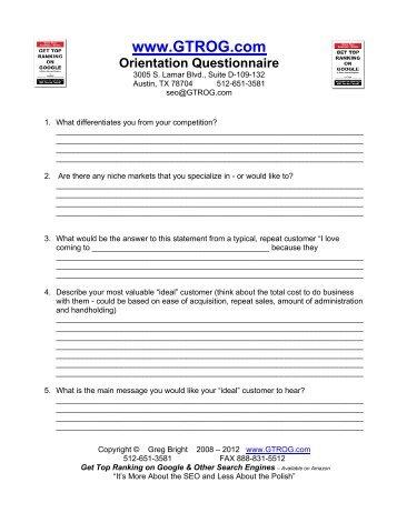 Download SEO Orientation Here - SEO - Search Engine Optimization