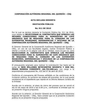 Invitacion Publica No. 011 de 2010 - Corporación Autónoma ...