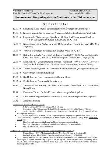 Dr. Ekkehard Felder - Germanistisches Seminar - Universität ...