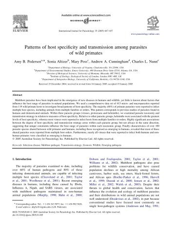 Patterns of host specificity and transmission among parasites of wild ...