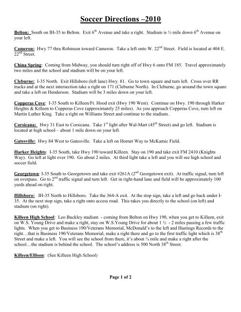 Soccer Directions - the Midway ISD Home Page