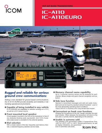 Rugged and reliable for serious ground crew ... - Icom France