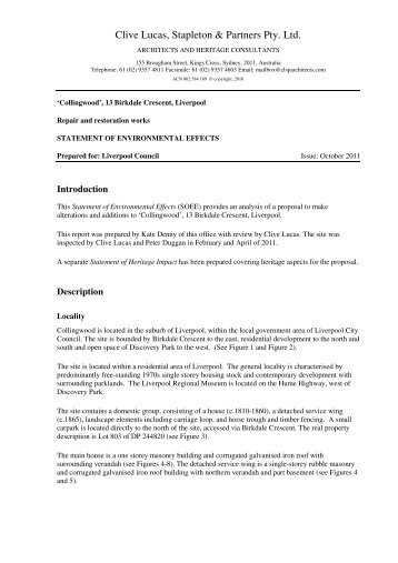 Statement of Environmental Effects - Liverpool City Council